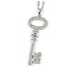 Statement Crystal Key Pendant with Long Chunky Chain In Silver Tone - 70cm L