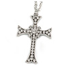Large Crystal Cross Pendant with Chunky Long Chain In Silver Tone - 70cm L