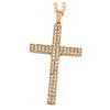 Large Crystal Cross Pendant with Chunky Long Chain In Gold Tone - 70cm L