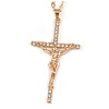 Statement Crystal Cross Pendant with Chunky Long Chain In Gold Tone - 70cm L