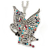 Multicoloured Beaded Butterfly Pendant with Long Chain In Silver Tone - 70cm L/ 4cm Ext