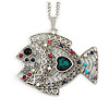 Multicoloured Beaded Fish Pendant with Long Chain In Silver Tone - 70cm L/ 5cm Ext