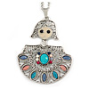 Multicoloured Beaded Doll Pendant with Long Chain In Silver Tone - 70cm L/ 5cm Ext