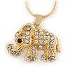 Small Crystal Elephant Pendant with Snake Type Chain In Gold Tone - 40cm L/ 5cm Ext