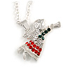 Christmas Crystal Guardian Angel Pendant with Silver Tone Chain - 40cm L/ 5cm Ext