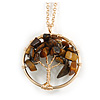 'Tree Of Life' Open Round Pendant Tiger Eye Semiprecious Stones with Gold Tone Chain - 44cm