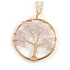'Tree Of Life' Open Round Pendant Rose Quartz Semiprecious Stones with Gold Tone Chain - 44cm