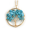 'Tree Of Life' Open Round Pendant Turquoise Semiprecious Stones with Gold Tone Chain - 44cm