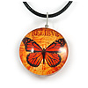 Delicate Round Glass Butterfly (Two-sided) Pendant with Black Cord (Orange/ Black) - 42cm L/ 5cm Ext