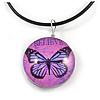 Delicate Round Glass Butterfly (Two-sided) Pendant with Black Cord (Purple/ Black) - 42cm L/ 5cm Ext