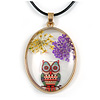 Oval Multi Owl Glass Pendant with Black Cord - 42cm L/ 5cm Ext (Each piece is handmade individually thus comes with a different owl design)