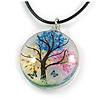 Multicoloured Tree Of Life Round Glass Pendant with Black Cord - 42cm L/ 5cm Ext