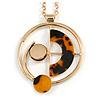 Geometric Tortoise Shell Effect Pendant with Gold Tone Chain Necklace - 72cm L/ 7cm Ext/ 8cm Pendant