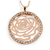 Vintage Inspired Rose Gold Crystal Off Round Rose Motif Pendant with Beaded Chain - 80cm L/ 8cm Ext