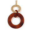 Large Matte Gold Tone, Brown Tortoise Shell Effect Double Circle Pendant with Gold Tone Chain - 76cm L/ 7cm Ext/ 10cm Pendant