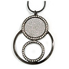 Multi Circle Crystal with Silver Glitter Effect Pendant with Long Black Tone Chain - 80cm L/ 7cm Ext/ 6cm Pendant