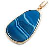 Unique Oval Blue Agate Semiprecious Stone Pendant with Gold Tone Chain - 70cm Long