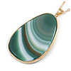 Oval Green Semiprecious Stone Pendant with Long Gold Tone Chain - 70cm Long