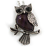 Vintage Inspired Amethyst Semiprecious Stone Owl Pendant with Silver Tone Chain - 70cm Long