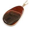 Unique Oval Brown Agate Semiprecious Stone Pendant with Gold Tone Chain - 70cm Long