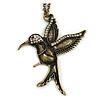 Bronze Tone 'Hummingbird' Long Pendant Necklace - 70cm Length