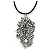 Burn Silver Large Diamante 'Feather' Pendant On Black Leather Cord Necklace - 38cm Length/ 7cm Ext