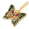 Small Butterfly Pendant with Gold Tone Chain in Green/ Orange/ Red Enamel - 44cm L/ 5cm Ext
