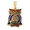 Multicoloured Enamel Owl Pendant with Gold Tone Chain - 44cm L/ 5cm Ext