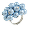Cluster Of Slateblue Faux Pearl Costume Ring