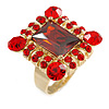 Queen Of Beauty Red Crystal Cocktail Ring