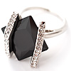 Square Cut Jet Crystal Fashion Ring