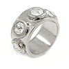 Four Clear Crystal Silver Band Fashion Ring