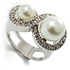 Rhodium Plated Faux Pearl Crystal Accent Ring (Snow White) [R00184]