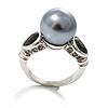Regal Ash Gray Pearl & CZ Ring [R00185]