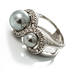 Rhodium Plated Faux Pearl Crystal Accent Ring (Ash Gray) [R00186]