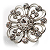 Rhodium Plated Clear Flower Cocktail Ring