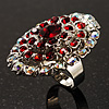 Large Oval-Shaped Crystal Cocktail Ring (Red)