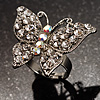 Silver Tone Clear Crystal Butterfly Ring