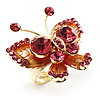 3D Crystal Butterfly Ring (Gold&Pink)