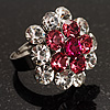 Clear And Pink Crystal Cluster Ring