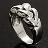 Rhodium-Plated Braided Band Ring