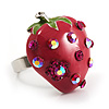 Peach Red Enamel Strawberry Ring