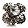 Vintage Four Petal Crystal Flower Cocktail Ring (Clear&Dim Grey)