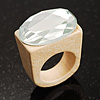 Clear Crystal Oval Glass Wooden Ring (Cream)