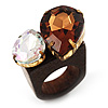 Acrylic Wooden Boho Style Fashion Ring (Clear & Amber Coloured)