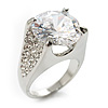 Clear Crystal Cz Statement Ring (Silver Tone)