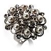 Bridal Imitation Pearl Crystal Floral Ring (Silver Tone)