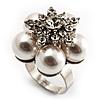 Snow White Faux Pearl Diamante Flower Ring (Silver Tone)