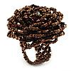 Golden Brown Glass Flower Stretch Ring