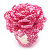 Baby Pink Glass Bead Flower Stretch Ring